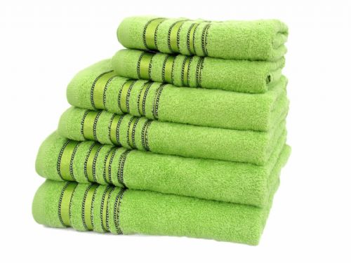 SATIN STRIPE LUXURY RANGE 100% COTTON HOTEL QUALITY TOWELS GREEN COLOUR